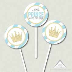Little Prince Cupcake Toppers, Little Prince Baby Shower, Boy Baby Shower Printables, Blue and Gold Shower, Little Prince on the Way Shower