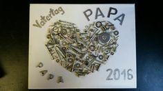 Vatertagsgeschenk Bild mit Schrauben, Muttern und Unterlegscheiben