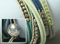 cool bracelet by Nicole Anderson using pyrite rondelles in silver. what did we do before we had them? beadshop.com   Pyrite Rondelles-Silver