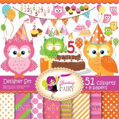 Big Collection Birthday owls Digital clipart set Cute owl clip art Girl Boy fun bunting cupcake cake hat Party digital elements pf00036-1. $8.99, via Etsy.