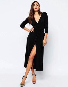 ASOS   ASOS - Maxi robe cache-cœur en crêpe de jersey Cacher, Mode 468fb95bba0