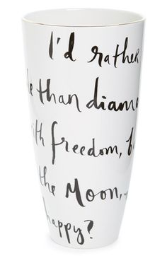 """I'd rather have roses on my table than diamonds on my neck, with freedom, books, flowers, and the moon, who could not be happy?"" kate spade new york 'daisy place' vase available at #Nordstrom"