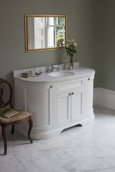Matt White 134 Curved Freestanding Vanity Unit with Doors and Drawers from Burlington Bathrooms http://www.burlingtonbathrooms.com/Products/ProductDetail?prodId=90646&name=Freestanding%20134%20Curved%20Vanity%20Unit%20with%20drawers%20-%20Matt%20White%20and%20Minerva%20Carrara%20white%20worktop%20with%20integrated%20white%20basin
