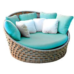 Skyline Design Strips Day Bed Aruba w/Cushion Liner ($3,575) ❤ liked on Polyvore featuring home, outdoors, patio furniture, outdoor loungers & day beds, blue, contemporary daybed, outside daybed, outdoor patio furniture, outdoor garden furniture and outdoor lounge