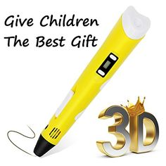 2016 Newest Version Intelligent Printing Pen With LED Screen for dimensional drawing pen Tool with 3 PLA Filament As best DIY Gift Birthday Gift for kid friends adults Crafts Pen Yellow *** Click image for more details. Birthday Gifts For Kids, Man Birthday, Birthday Ideas, Diy Gifts For Men, 3d Craft, Sewing Crafts, 3d Printing, Best Gifts, Gadgets