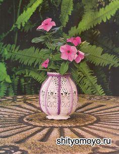 Декоративный вазон, связанный крючком