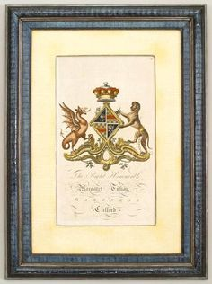 English Georgian picture coat of arms engraving