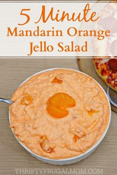 Creamy 5 Minute Mandarin Orange Jello Salad is such a light refreshing side dish or dessert. And it's so easy to make too- all you need is 5 minutes! Fluff Desserts, Jello Desserts, Jello Recipes, Delicious Desserts, Dessert Recipes, Yummy Food, Recipies, Pretzel Desserts, Slaw Recipes