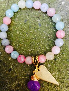 Pastel  Faceted Agate Bracelet With Purple by OohlalaGems on Etsy, $42.00