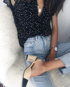 Blouse: le fashion image, blogger, jeans, polka dots, frayed denim, cropped jeans, thick heel, nude shoes - Wheretoget
