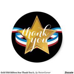 Gold USA Ribbon Star Thank You Sticker
