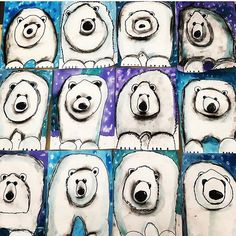 The cutest polar bears! grade guided drawing with watercolor and charcoal sh… – janneke The cutest polar bears! grade guided drawing with watercolor and charcoal sh… The cutest polar bears! grade guided drawing with watercolor and charcoal shading. Classroom Art Projects, School Art Projects, Art 2nd Grade, Club D'art, Art D'ours, Op Art, Cute Polar Bear, Polar Bears, Polar Bear Crafts