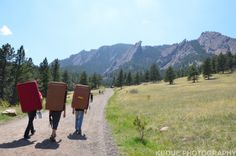 Hauling crash pads across the trail at Chautauqua Park, headin' out to climb the Satellite Boulders in the Flat Irons - Boulder, Colorado.