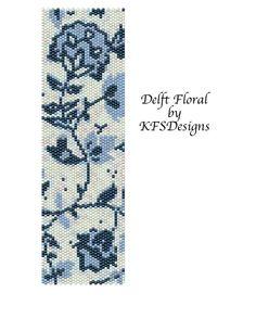 peyote stitch patterns | Peyote Stitch Cuff Bracelet Pattern - Delft Floral (Buy 2 Patterns ...