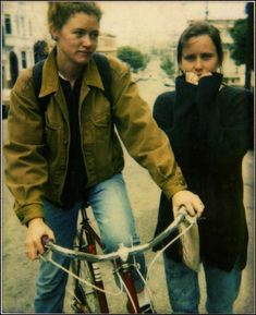 Margaret Kilgallen on her bicycle in San Francisco