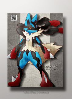 Lucario Pokemon Poster Print Mega Lucario by MinishWorkshops