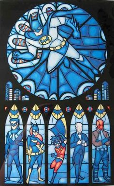 Batman stained glass art via www.Facebook.com/DisneylandForMisfits