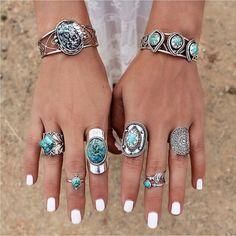 turquoise jewellery, turquoise rings, handmade turquoise jewelry, silver jewelry with turquoise gems Turquoise Rings, Turquoise Bracelet, Turquoise Gemstone, Green Turquoise, Looks Hippie, Sterling Silver Jewelry, Silver Rings, Ruby Rings, Silver Bangles
