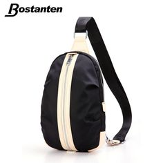 Bostanten Men Women Nylon+ Genuine Leather Travel Hiking Riding Bike Messenger Shoulder Cross Body Sling Pack Chest Casual Bag