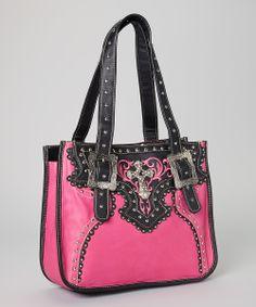 Hot Pink & Black Rhinestone Tote