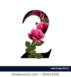 Alphabet number two with flower. Number Two, Baby Cards, Decoupage, Lashes, Printables, Graphics, Logo, Wallpaper, Business