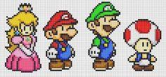 Mario, Luigi, Peach and Toad by Hama-Girl