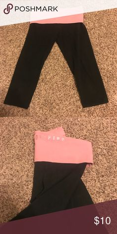 PINK cropped yoga pants Used ,fair condition Pants Leggings