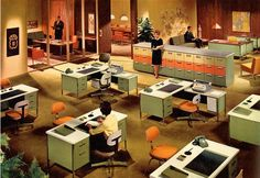 Retro Functional Beauty: The Steelcase Coordinated Office Approach - The advertising images for Steelcase Coordinated Office in Fortune magazine in the Steelcase Matchbook! Above images via The Mid-Century Modernist Retro Vintage, Deco Retro, Vintage Decor, Retro Office, Vintage Office, Office Fun, School Office, Man Office, Home Office