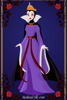 inspiration for Evil Queen outfit: purple dress with red sash, gold headband, red lips, black shrug or cardigan, black flats, apple ring