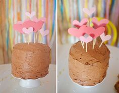 Top your Cake in Hearts, made with: Skewers + Construction Paper CUT into Hearts.