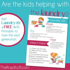 Are you training your children to do the laundry?  Get this cute and colorful 8×10 FREE Printable to hang in your laundry room to remind your children (and maybe even adults!) all the steps to keep the laundry room running efficiently for the whole family.