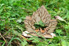 Wooden napkin hoder in shape of maple leaf