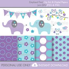 Elephant Owl Clipart / Digital Paper por LittlePrintsParties