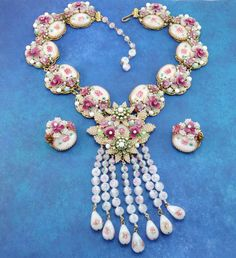 Showstopper Vintage STANLEY HAGLER N.Y.C - Ian St Gieler Masterpiece Rhinestone & Transfer Flower Bead Necklace, Earrings - One of a Kind!