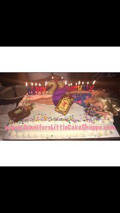 Drunk Barbie 21st birthday cake in buttercream icing from Jennifer's Little Cake Shoppe in Fleming Island, Florida- www.JennifersLittleCakeShoppe.com