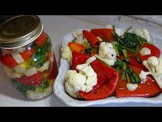 Ardei marinati cu conopida - YouTube Caprese Salad, Preserves, Pickles, Cooking, Youtube, Food, Canning, Kitchen, Preserve