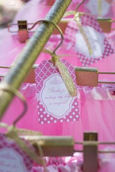 Princess Birthday Party Ideas | Gold spray painted hangers. Love all the pics