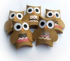 Pink Kraft Girl Owl Pillow Treat Boxes Set of 12 by BBGPartyDesigns, $12.99