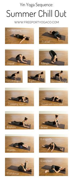 Chill out with this yin yoga sequence specifically designed for the summertime h. Chill out with this yin yoga sequence specifically designed for the summertime heat! Ashtanga Yoga, Vinyasa Yoga, Yoga Restaurativa, Yoga Yin, Kundalini Yoga, Yoga Moves, Yoga Flow, Restorative Yoga Sequence, Yin Yang Yoga