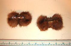 Midium Light Brown Mink Fur Bow Barrette Hairpiece Decoration - Knackster