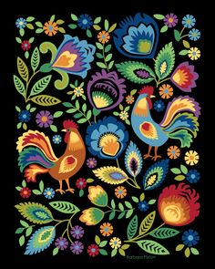 Roosters Art Print, Colorful Roosters, Folk Art, Roosters and Flowers, Polish Folk Design - Art ideas Folk Art Flowers, Flower Art, Colorful Flowers, Art Floral, Polish Folk Art, Art Tribal, Rooster Art, Scandinavian Folk Art, Mexican Folk Art