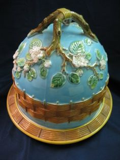 George Jones Majolica  Cheese Keeper