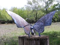 Butterfly Metal Sculpture Welded Metal Art Yard Art Garden Art via Etsy