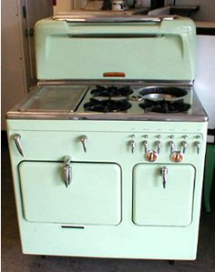 1952 mint green Chambers stove.  I got one...just have to get it working and a kitchen large enough to use it!