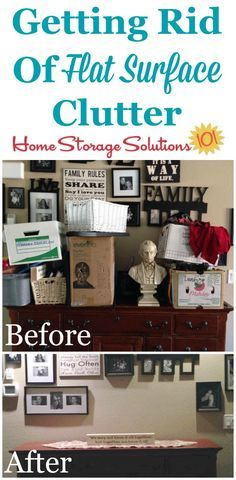 Before and after photos from Michelle, who decluttered a problem flat surface {featured on Home Storage Solutions 101}