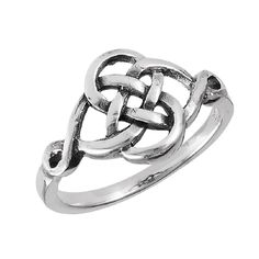 Sterling Silver Rounded Celtic Knot Band Ring Sizes: 6, 7, 8, 9, 10