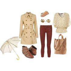 Outfit otoñal con gabardina, encuentra más opciones para combinar esta prenda aquí...http://www.1001consejos.com/outfits-con-gabardinas/