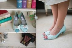 Wedding shoes peep toe low heel short heel by beccaandlouise