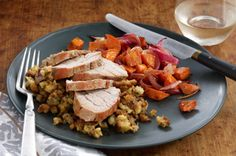 One-Pan Roasted Pork Supper recipe - I actually got this recipe from the Kraft website & pinned it to share with others as I've been making this for at least 5 years now & it's very tasty!  I often just take lots of sweet potatoes, Catalina Dressing, red onions & Thyme....roast them in the oven & serve with other main meat dishes.