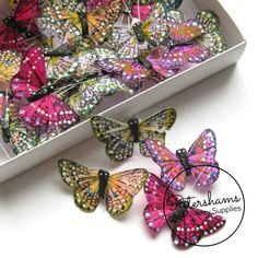 24 Assorted Colours Self Adhesive Spotted Feather Butterflies in Box